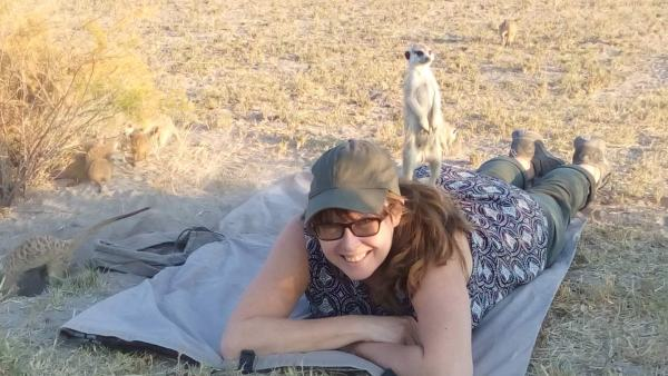 Vanessa helps the meerkats by providing a useful viewing platform.