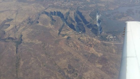 Our last spectacular view of Victoria Falls, as we fly out of Zimbabwe. Next stop Barbados.