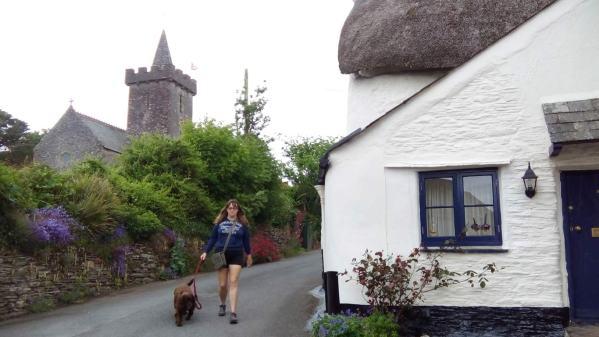 Vanessa with Molly in the beautiful village of Ringmore, Devon