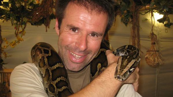 Ian with monster snake Monty