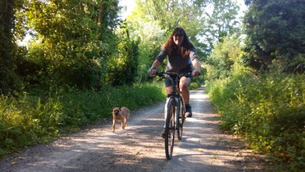 Hamish and Vanessa getting some exercise on the old railway cycle path