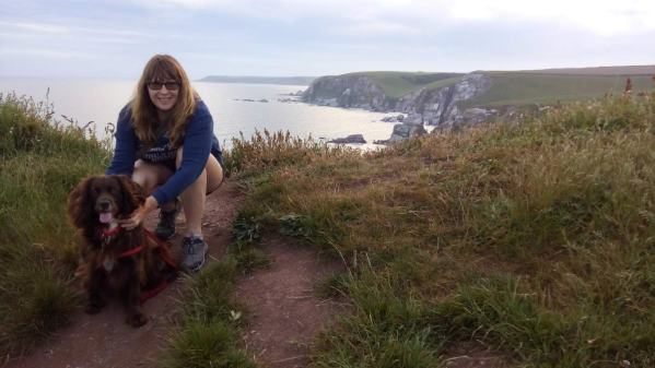 Vanessa and Molly on the cliff-top above Ayrmer Cove, Devon
