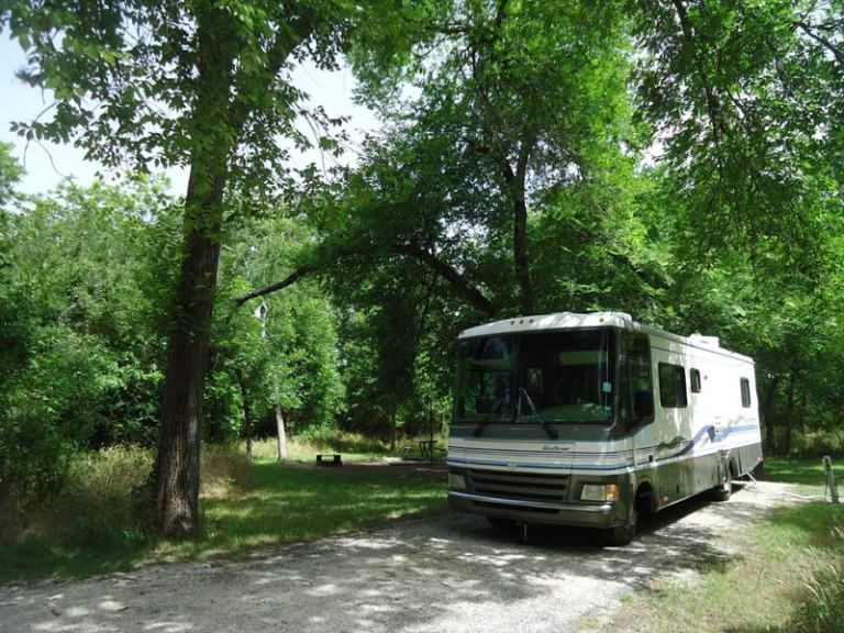 Parked at our camp spot at McKinney Falls State Park