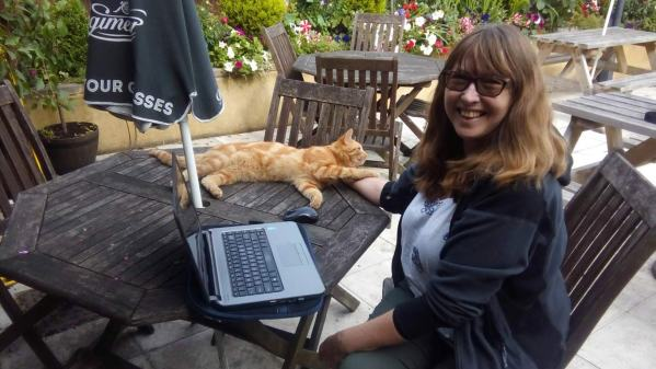 On a quick stopover in the UK Vanessa befriended the local pub cat.