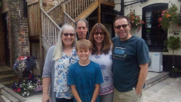 Meeting up with fellow house-sitters Tim and Lou, and their grandson Tristin on our short UK stopover.