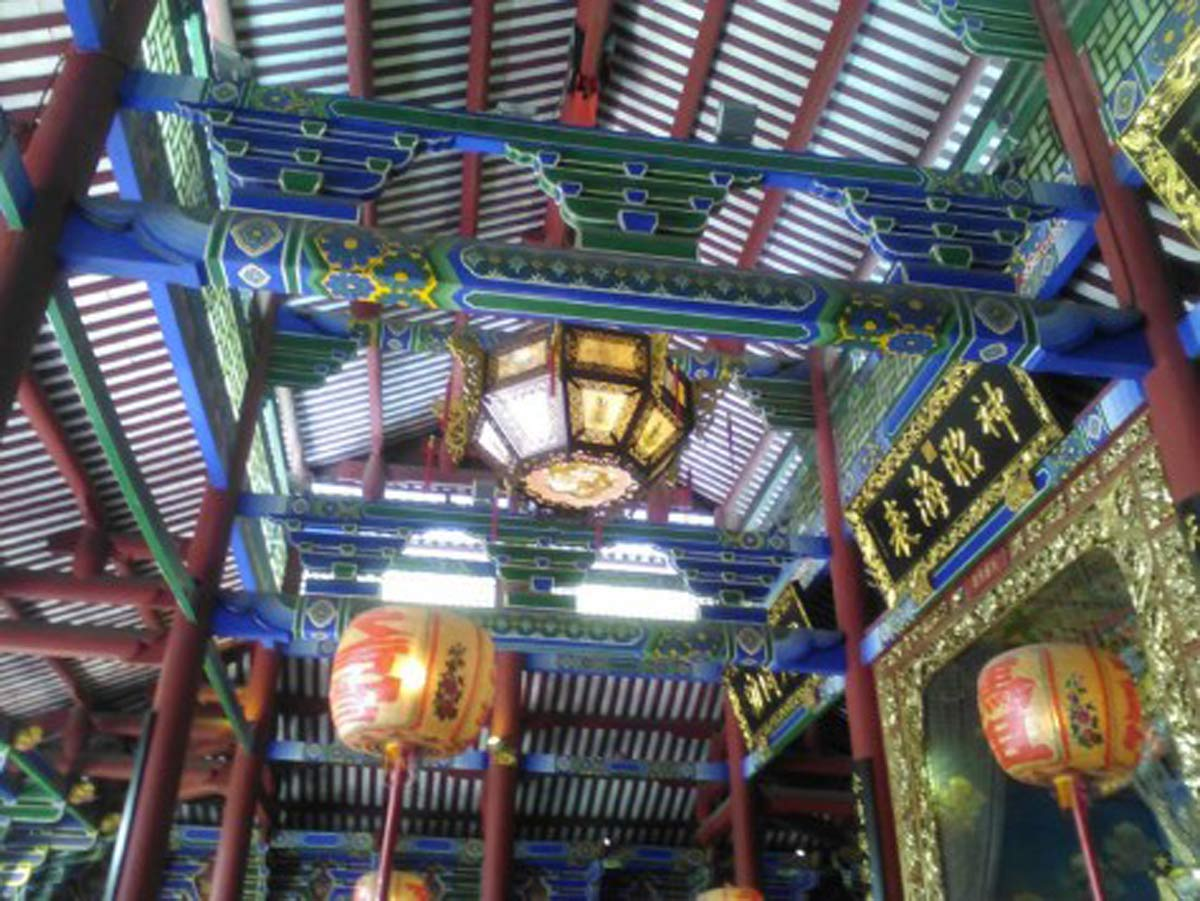 The decorative interior of the temple buildings