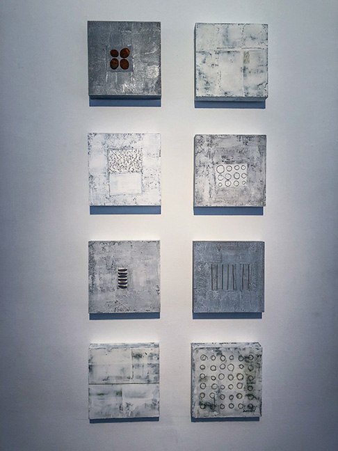 "Untitled #1-8 (medium panels), 10 x 10"" each, mixed media on panel"
