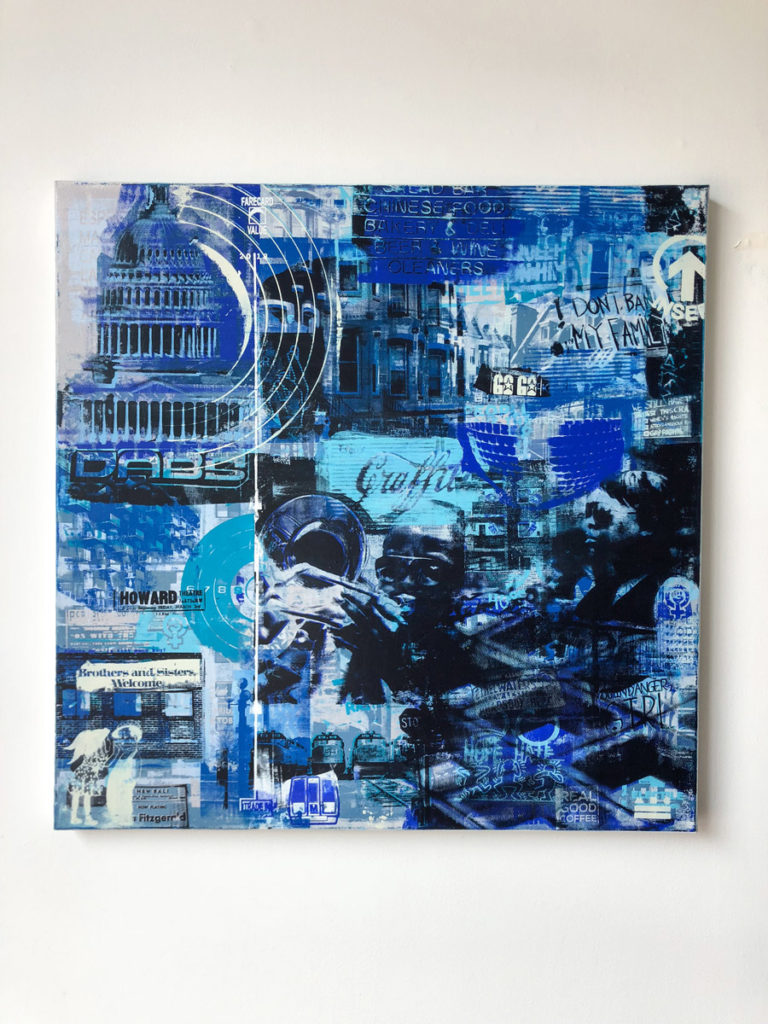 """FCV #12 "", 36 x 36"", layered acrylic screen prints and spray paint on canvas"