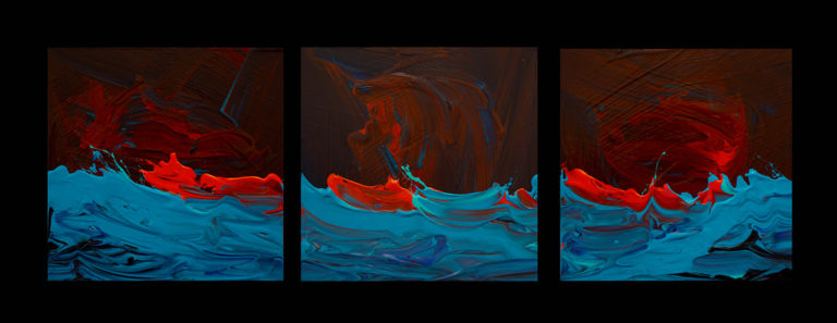 Sequence, 6x6, triptych, acrylic on panel