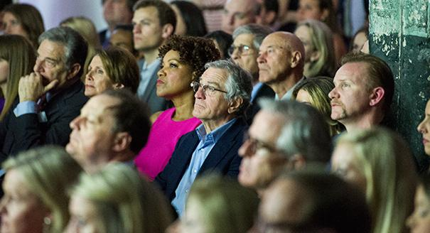Seated near Minority Leader Nancy Pelosi, left, and Morgan Spurlock, right, Robert De Niro looks on during his HBO documentary tribute to his father Friday. (Rod Lamkey Jr. for POLITICO)