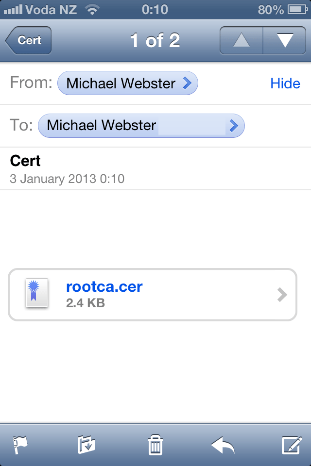 Installing Corporate CA Certificates on iPhone or iPad for Use with VMware View (3/6)