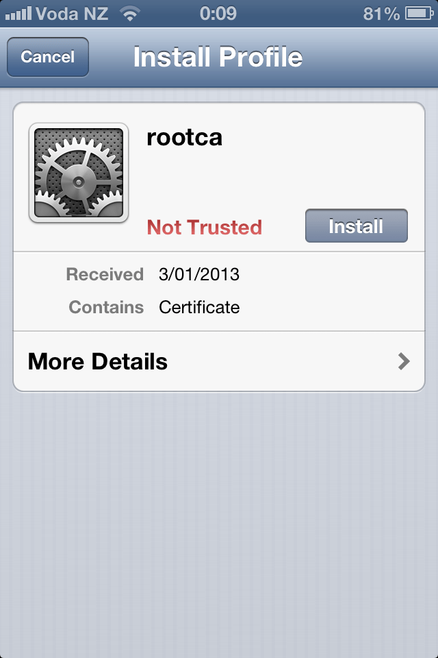 Installing Corporate CA Certificates on iPhone or iPad for Use with VMware View (4/6)