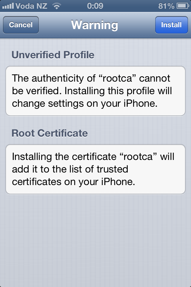 Installing Corporate CA Certificates on iPhone or iPad for Use with VMware View (5/6)