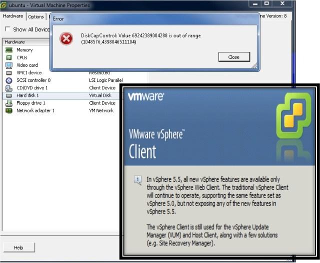 Jumbo VMDK VI Client Errors