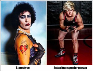 Dr. Frank N Furter stereotype image, next to photo of Mack Beggs, real-life transgender high school wrestler