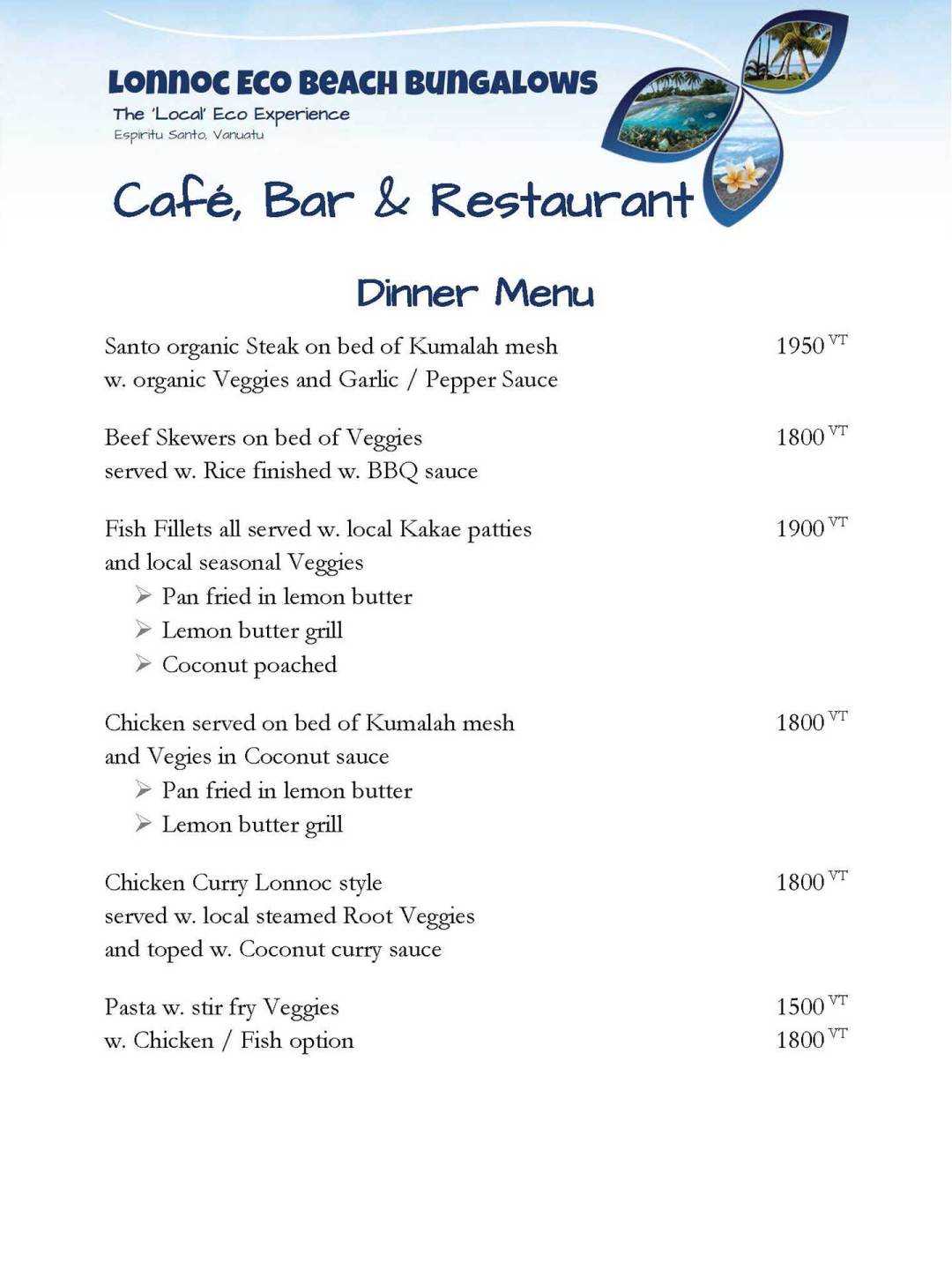 Dinner menu - Lonnoc Eco Beach Bunganlows