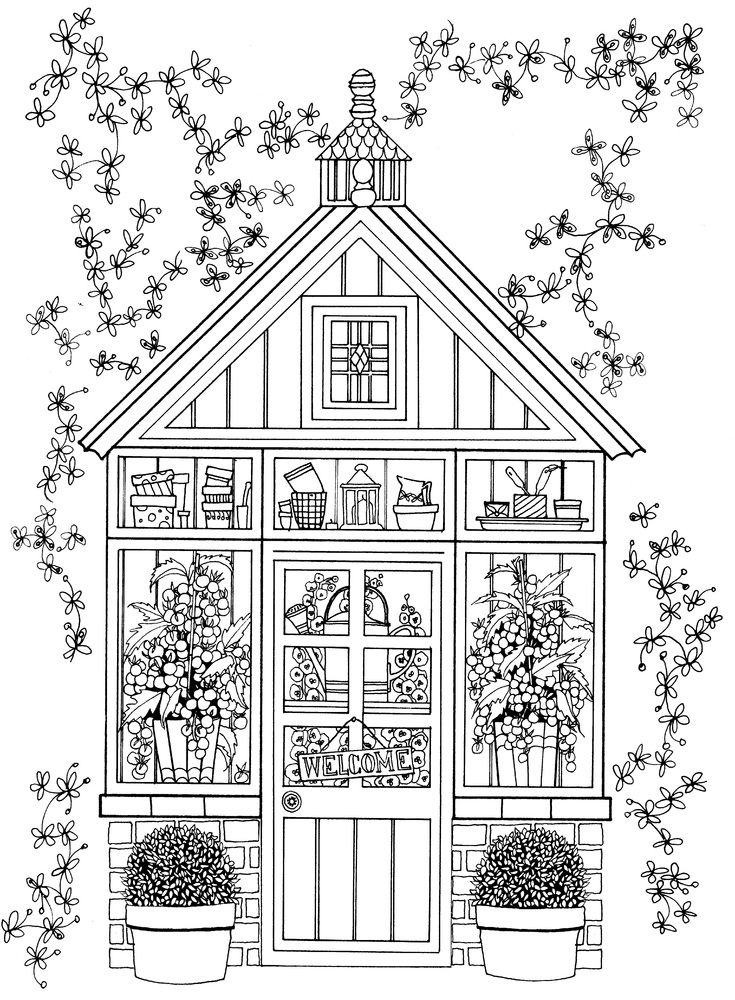 Library Building Pages Coloring Pages