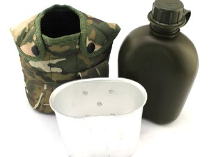 Cantimplora Militar Usa Campamento Supervivencia con taza de aluminio