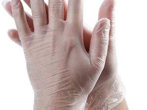 Guante de vinil desechable transparente sin polvo