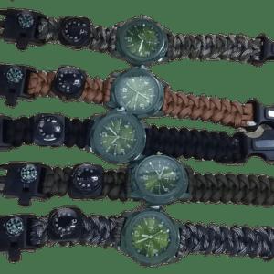Reloj manecillas paracord 262 Supervivencia Brujula Pedernal termometro