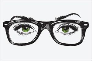 Grüne Augen mit dicker Wayfarer-Brille