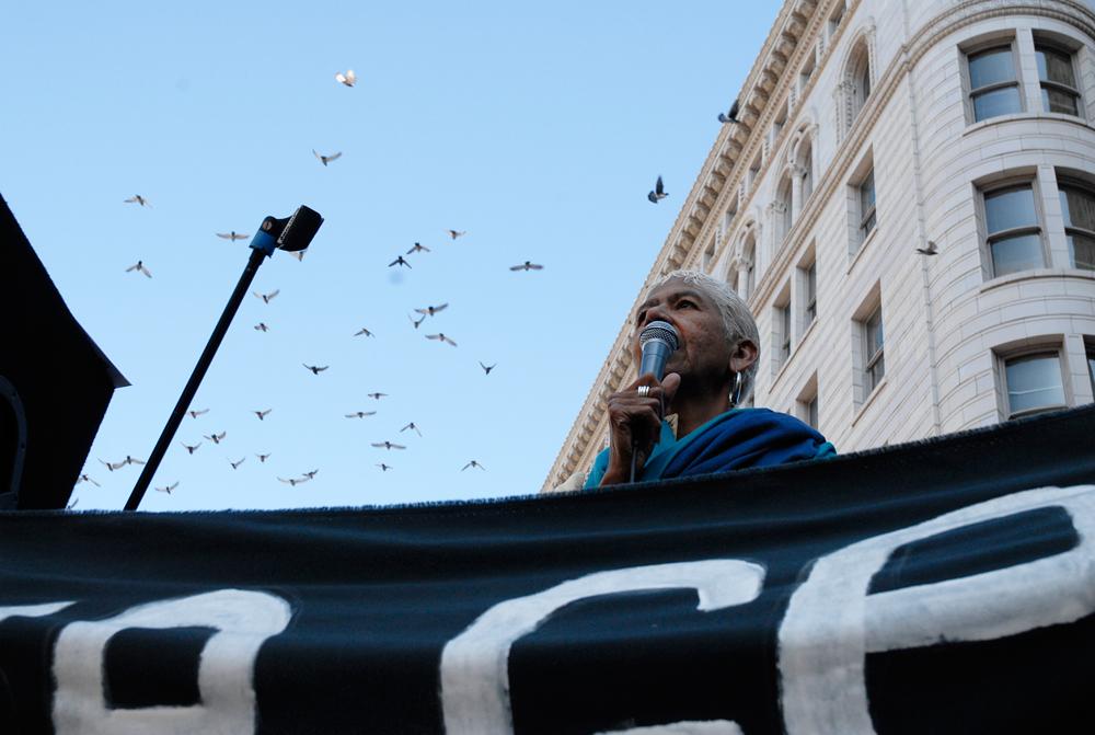 Ericka Huggins speaks at Occupy Oakland General Strike