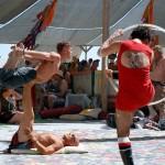 Center Camp acrobatics. Photo: Wendy Goodfriend