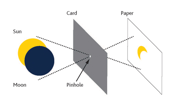 Diagram of a pinhole projector used to view an eclipse.