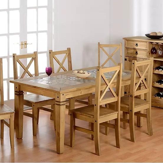 salvador pine tile top rectangular table 4 chairs dining set