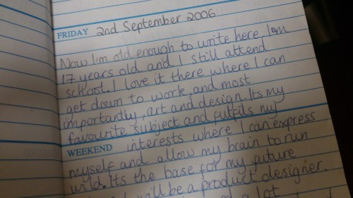 something I wrote in the diary when I was nearing the end of secondary.