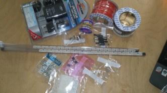 electronic parts, LED's, arduino board and accessories to create the lighting effect underneath the table top