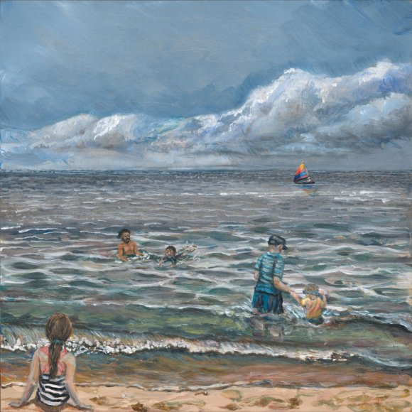"Image of a Painting by Steve Miller titled, ""A Day At Douglas Beach""."