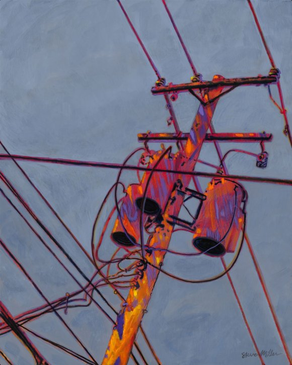 image of a painting by Steve Miller of an electric utility pole in a vibrant color scheme.