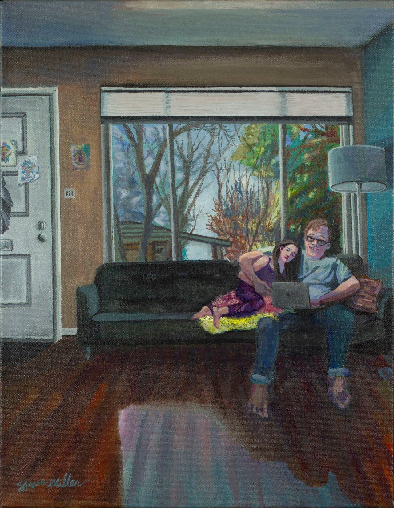 """Home School, acrylic on canvas, 14"""" x 18"""" x 1.5"""", 4/1/20, © Steve Miller 2020"""