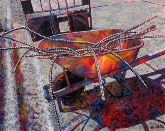 Image of a painting by Steve Miller of a wheel barrow filled with rebar spilling out, and depicted in vibrant colors.