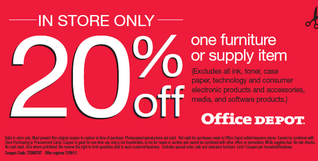 20 off One Furniture or Supply Item Coupon at Office