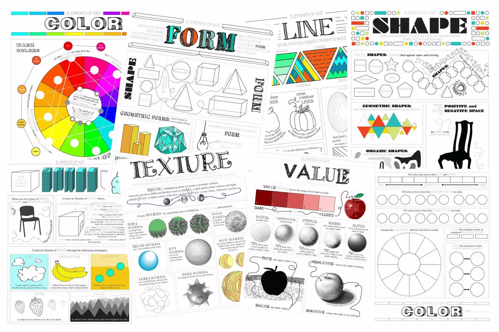 Elements Of Art Worksheet Pack Tpt Sale