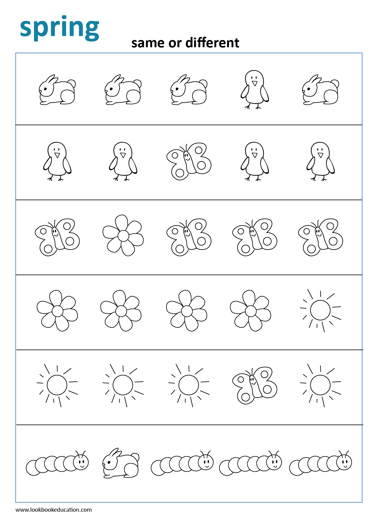 Worksheet Same Or Different Spring