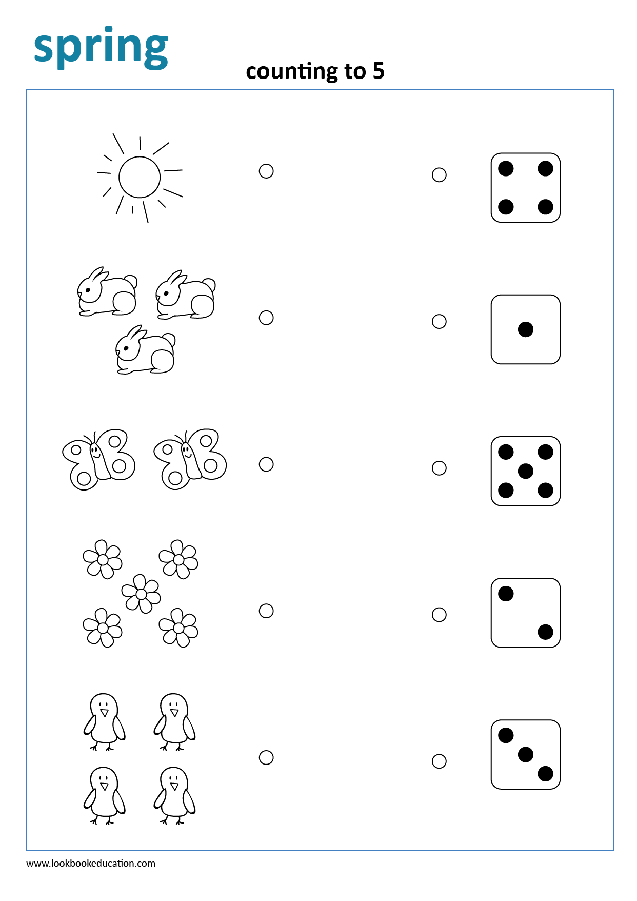 Worksheet Counting Dice Spring