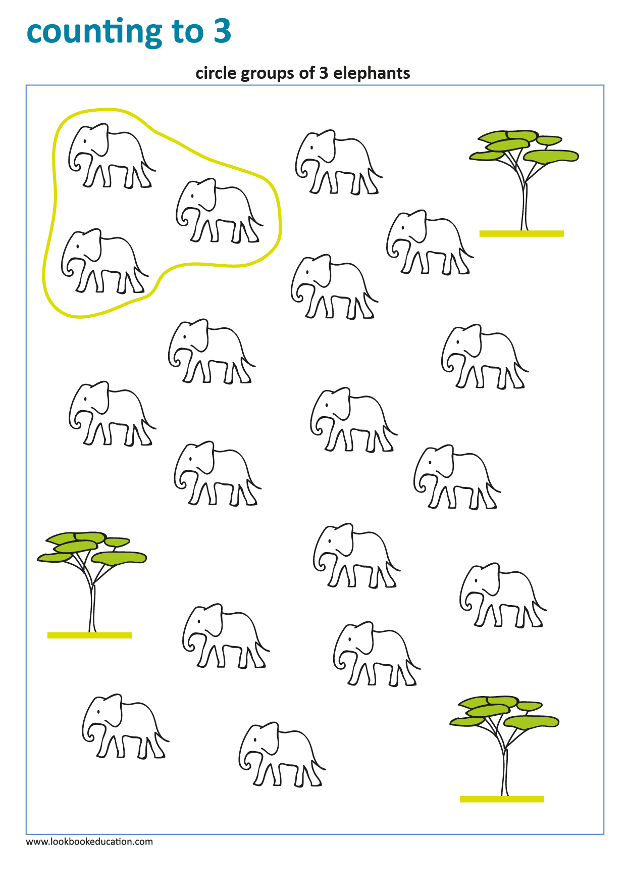 Worksheet Counting Groups Of 3 Elephants