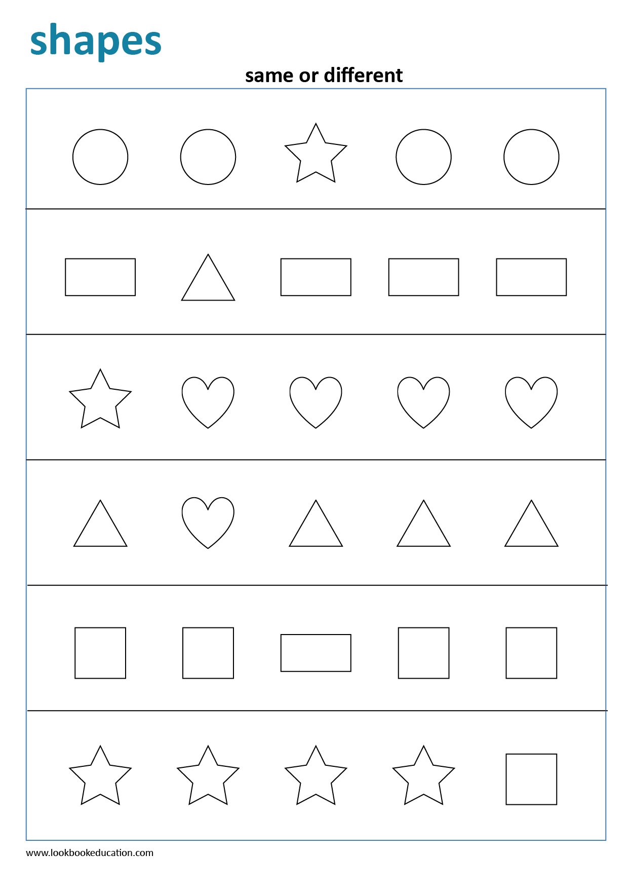 Worksheet Same Or Different Shapes