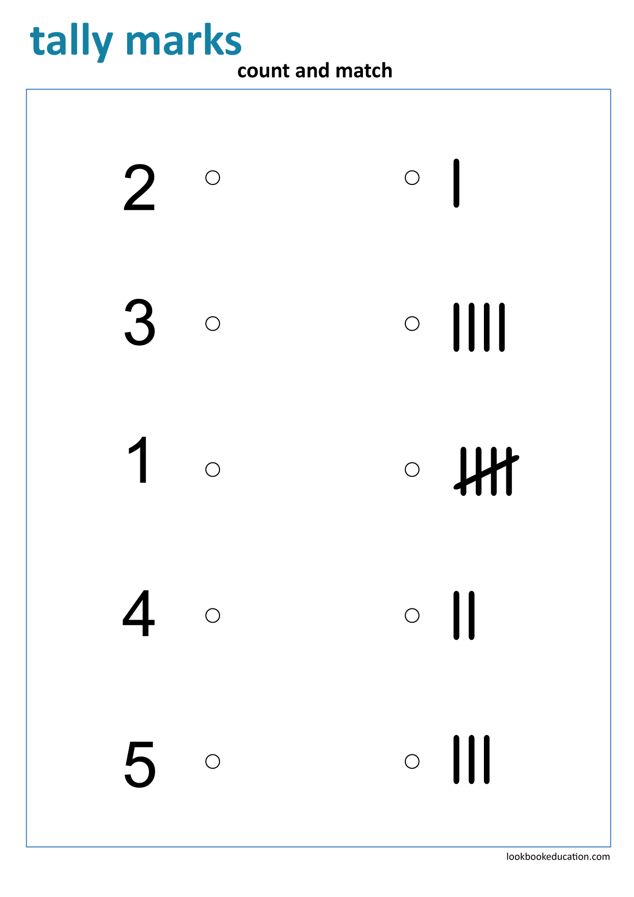 Worksheet Matching Tally Marks