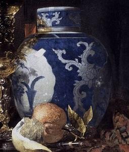 cerámica pintada en azul