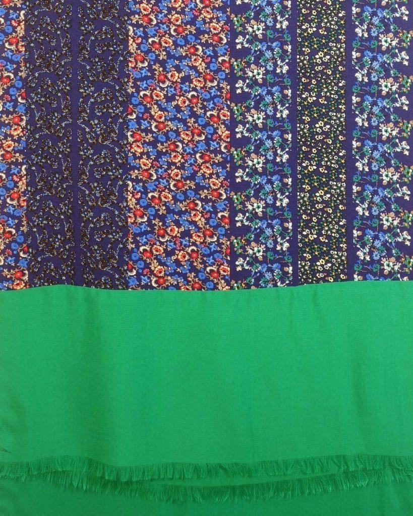 chal de fiesta y boda verde azul look by lyly moda sostenible