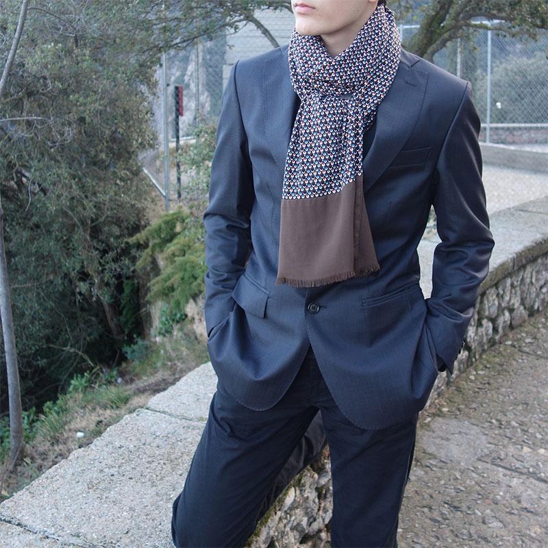 Bufanda hombre marron moda sostenible look by lyly
