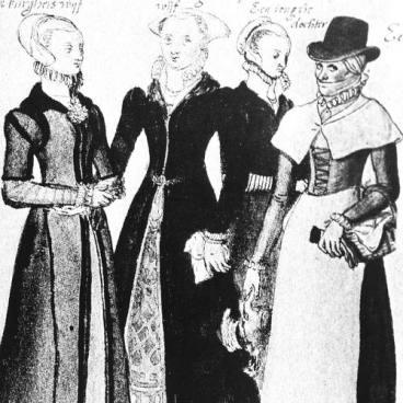 moda mujer s.XVI con sombrero de copa