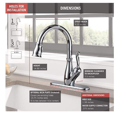delta faucet leland single handle kitchen sink faucet with pull down sprayer shieldspray technology and magnetic docking spray head chrome 9178 dst lookcave