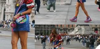 Anna Dello Russo MFW abito scarpe borsa Marc by Marc Jacobs collana Chanel portachiavi Fendi bracciali orologio Bulgari