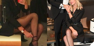 Alessia Marcuzzi Ginevra IWC Schaffhausen abito YSL scarpe Gianvito Rossi orologio IWC