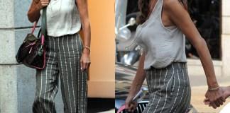 Emanuela Folliero pantaloni righe borsa LV 7